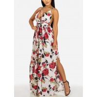 L'ATISTE White and Red Halter Neck Crisscross Back Maxi Dress 10235I_6797NWHTRED FODMNBK