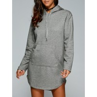 Women Drawstring Kangaroo Pocket Hoodie Dress Create your noble temperament Solid Casual PDLXKFT