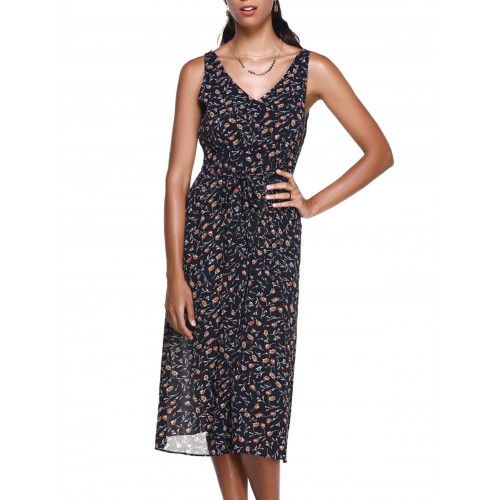 Women Fashionable Women's Small Broken Flower V-Neck Meadow Maxi Dress Create your noble temperament Others Casual EQTKPMN