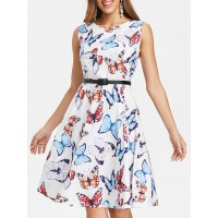 Women Fit and Flare Butterfly Pattern Dress Create your noble temperament Butterfly Vintage TLARKWI