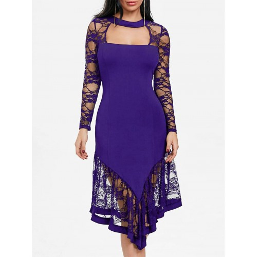 Women Lace Panel Cut Out Asymmetrical Club Dress Create your noble temperament Solid Color Sexy & Club YVEXFPR