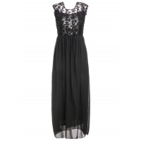 Women Sexy Style Backless Sleeveless Round Collar Hollow Out Design Maxi Dress Create your noble temperament Solid Sexy & Club DDOXJMJ