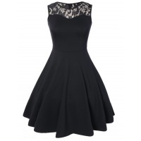 Women Sleeveless Lace A Line Party Swing Skater Dress Create your noble temperament Solid Brief RKSNHHJ