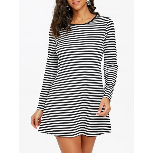 Women Striped Mini T-shirt Dress Create your noble temperament Striped Casual XBGLEHD