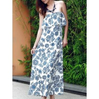 Women Vintage Strapless Flounce Patterned Maxi Dress For Women Create your noble temperament Print Casual RZOHIIT