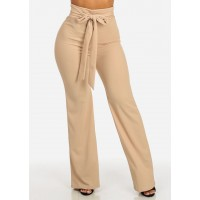 Women Evening Wear High Rise Khaki Wide Leg Pants with Bow in the Front 30550K_P359KHK UDHEDGZ