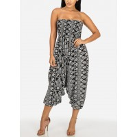 Women Multiway Black and White Strapless Printed Jumpsuit or Pants 41039I_5174BLKWHT UIVWADM