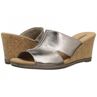 Women Clarks Lafley Mio Sandals Soft synthetic lining for added comfort Pewter Metallic Leather 8991919 BUCROKB