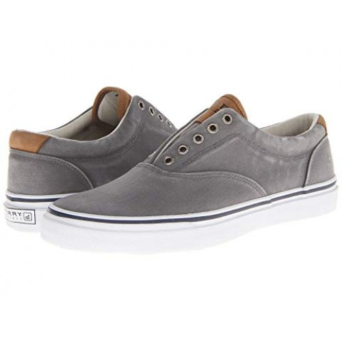 Men Sperry Striper CVO Salt-Washed Twill Sandals Soft synthetic lining for added comfort Grey 8252992 RIMJQPM